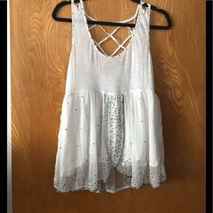 Free People peplum tank with  bead detail M
